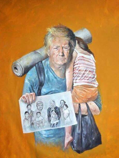 رسام سوري يعرض رؤساء العالم على هيئة لاجئين ومشردين ،