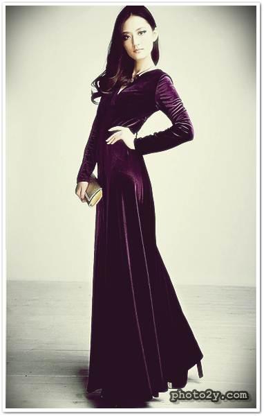 موديلات فساتين مخمل , اروع تصاميم فستان مخمليه
